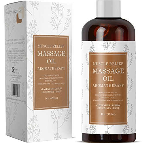 Massage Oil for Sore Muscles and Body Pain Relief - Massage Therapy for Women and Men - Great Deep Tissue Massage for Back- Anti Aging Moisturizers for Dry Skin - Sweet Almond Jojoba - 16 oz