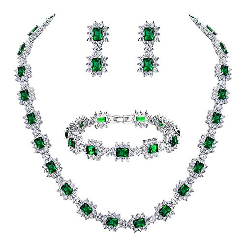 BriLove Wedding Bridal CZ Necklace Bracelet Earrings Jewelry Set for Women Multi Emerald Cut Halo Collar Necklace Tennis Bracelet Dangle Earrings Set Emerald Color Silver-Tone May Birthstone