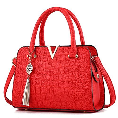 Crossbody 2 Bag Purses Handbags and Bags Tote Red Satchel Shoulder COCIFER Ladies Womens wXUqvp76f