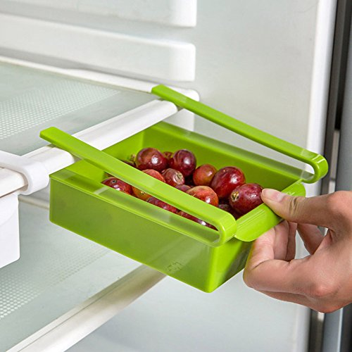 GreenSun(TM) 1piece Creative Storage Boxes Plastic Refrigerator Storage Rack Fridge Freezer Shelf Holder Pull-out Drawer Organiser Space Saver (Drawer Pull Out Freezer)