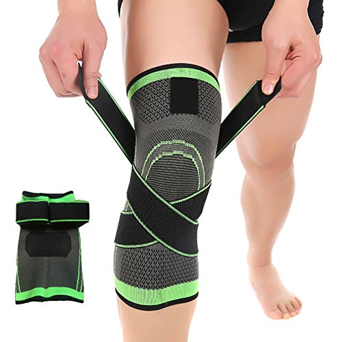 3D Weaving Knee Brace Breathable Support for Running, Jogging, Sports, Joint Pain Relief, Arthritis and Injury Recovery-Single Wrap (L)