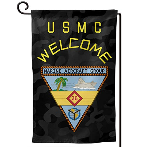 Marine Aircraft Group 26 Decorative Garden Flag Home Decor Yard Banner 12.5X18 Inch Printed Double Sided Square