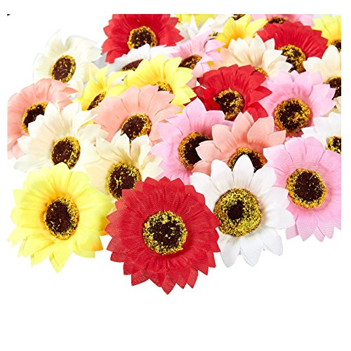 Juvale Artificial Flower Heads - 60-Pack Fake Sunflowers Wedding Decorations, Baby Showers, DIY Crafts, Mixed Colors, 2.5 x 2.5 x 1 inches