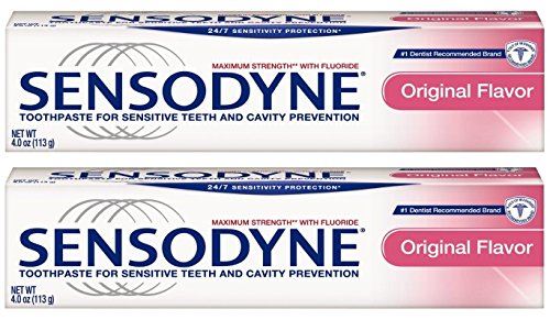 Sensodyne Toothpaste for Sensitive Teeth and Cavity Prevention, Maximum Strength, Original Flavor, 4 oz (Pack of 2)