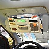 TRADERPLUS Canvas Multi-function Car Space Sun Visor Organizer Card Phone Storage Pouch Bag Holder (Beige)