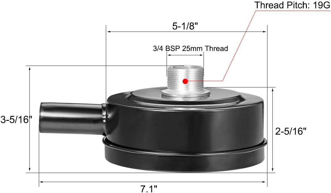 5-1//16 Diameter 3-1//2 Height sourcingmap Air Filter Silencer 1 BSP 32mm Thread