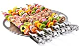 Premium Barbecue Skewers, 17-inch Stainless Steel Long BBQ Skewers, Quick Release Metal Grilling Kabob Stick, Sword-Shape Skewers -By Number-One (6 Pack)