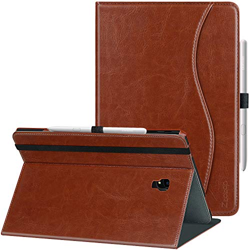 Ztotop Folio Case for Samsung Galaxy Tab S4 10.5 Inch 2018(SM-T830/T835/T837), Premium Leather Folding Stand Cover with Auto Wake/Sleep, S Pen Holder and Multiple Viewing Angles,Brown