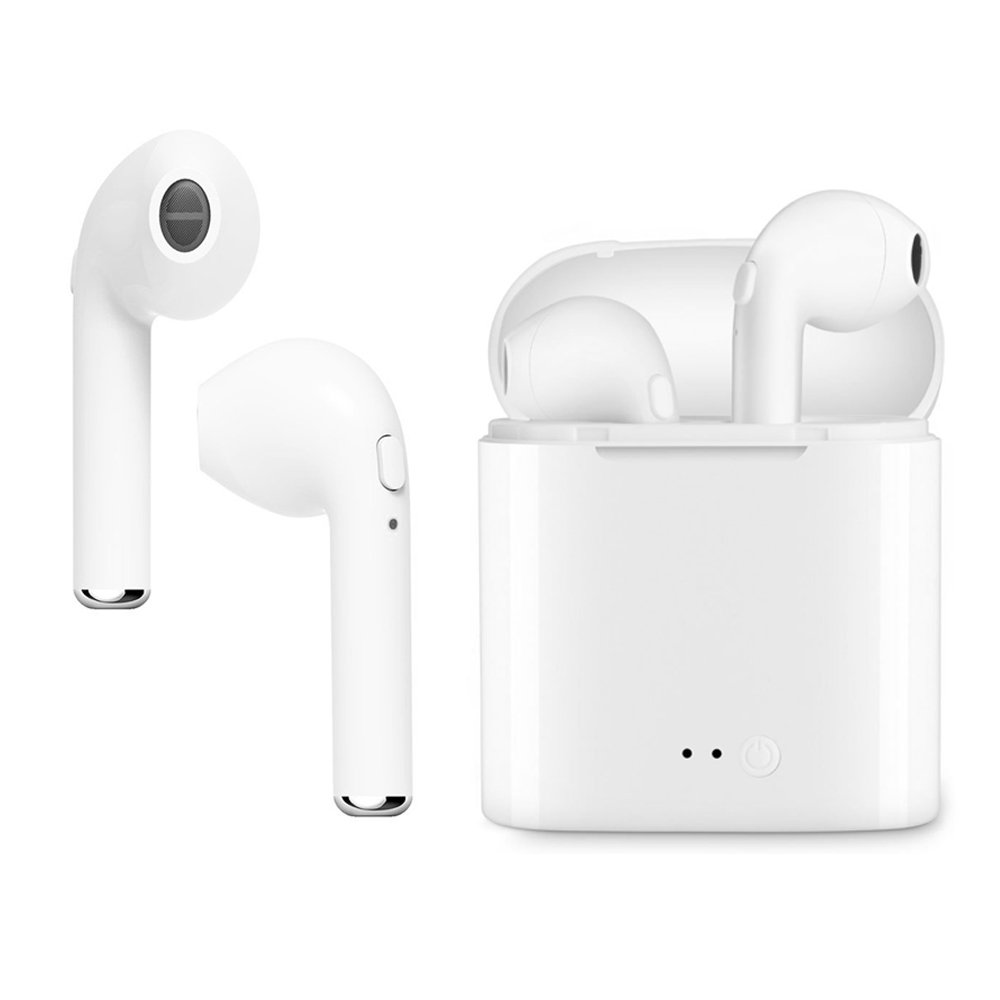 OUYA Wireless Earbuds, i7 TWS Wireless Earbuds with Charging Case Hands Free Compatible with iPhone X 8 8plus 7 7plus 6S Samsung IOS Android SmartPhones, Mini In-Ear Headphones Earphone with Mic.