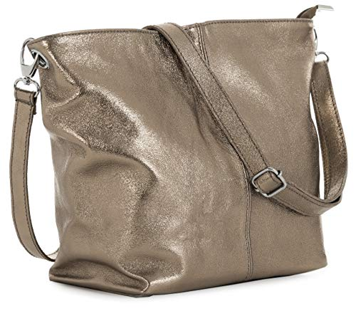 Metallic Leather Hobo Handbag - LIATALIA Women's Medium Hobo Shoulder Bag Genuine 100% Italian Leather Stylish & Elegant Design - ADAL [Metallic - Deep Rose Gold]