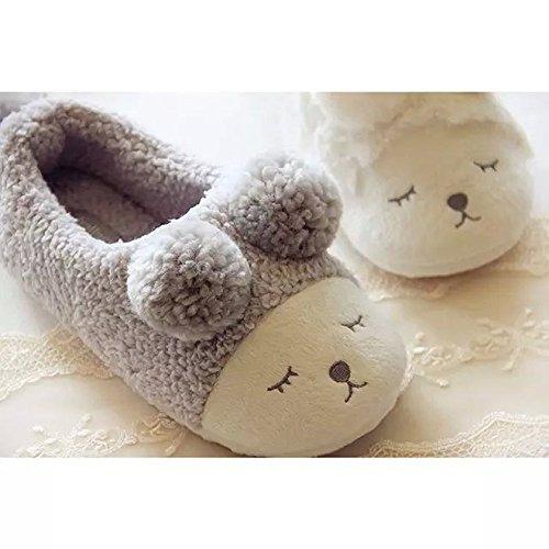 Not100 Donna Inverno Caldo Pantofole Casa Morbida Suola Piatta Slip-on Scarpe Grigie