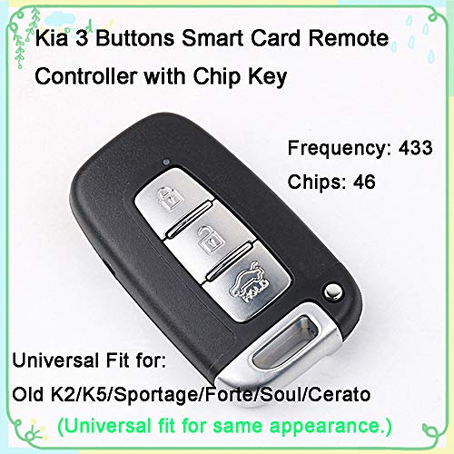 IDIYA 1 Sets 3-Buttons 433Hz Car Fob Keyless Entry Intelligent Smart Card Key Remote Control & Uncut 46 Chips Key Universal Replacement for Old Kia K2 K5 Sportage Forte Soul Cerato (Vertical Slot)