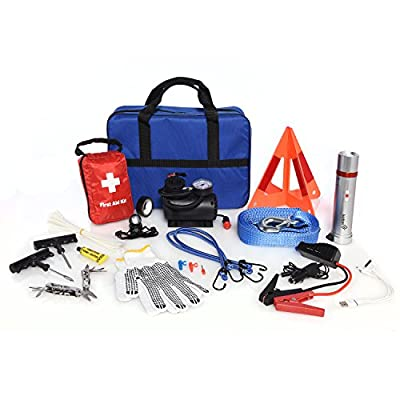 93 Piece Ivation 6000mah Portable Jump Starter battery Roadside Emergency Assistance Car, Truck, RV Kit with Escape Hammer, 12V Tire Inflator, First Aid Kit, LED Flashlight & Lantern, Safety Triangle