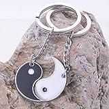 1 Set (2 Pcs/Set) China Yin Yang Enamel Couple Keychain Pendants Teen Ball Puff Fur Rabbit Keyfob Smashing Popular Pocket Women Bag Car Keyrings