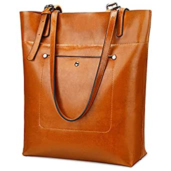 YALUXE Womens' Work Totes Genuine Leather Large Capacity Shoulder Bag Purses for Women Brown