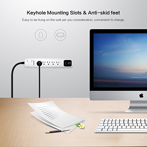 POWERADD Wall Mountable 5-Outlet Surge Protector Power Strip 6ft Cord with Dual Smart USB Ports for Home Office Dorm