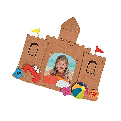Fun Express - Foam Sand Castle Picture Magnet Craft ki - Craft Kits - Stationary Craft Kits - Frame - 12 Pieces