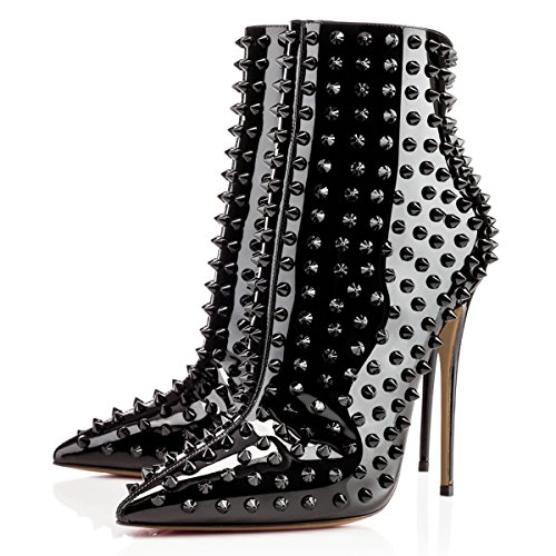 FSJ Women Fashion High Heel Ankle Boots with Rivets Pointed Toe Stilettos Zipper Shoes Size 4-15 US Black Patent