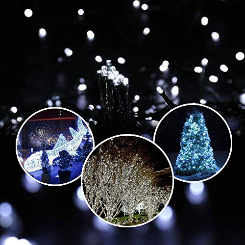 Dolucky Solar Christmas Lights, 72ft 8 Modes 200LED Solar String Lights, Waterproof LED White Solar Fairy Lights for Garden Balcony Deck Thanksgiving Christmas Decor(White)