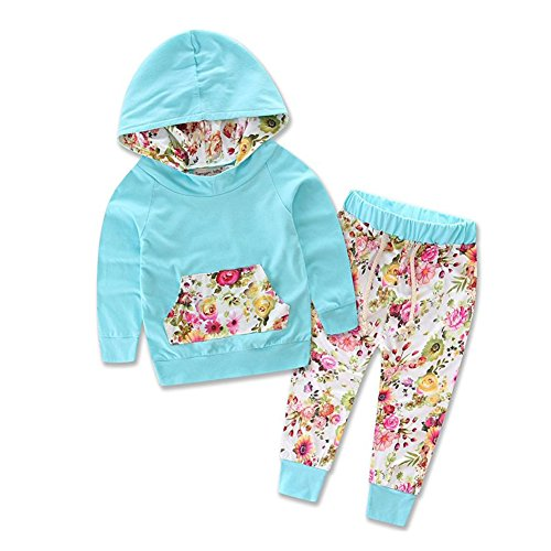 Baby Girls Floral Fleece Hoodie+ Floral Pant Set Leggings 2 Piece Outfits (0-6 Moths, Blue)