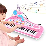 Ejoyous Kids Piano, 37keys Multi-Function Electronic Keyboard Piano Music Educational Instrument Gift Toy with Microphone and 4 Legs for Toddlers Children
