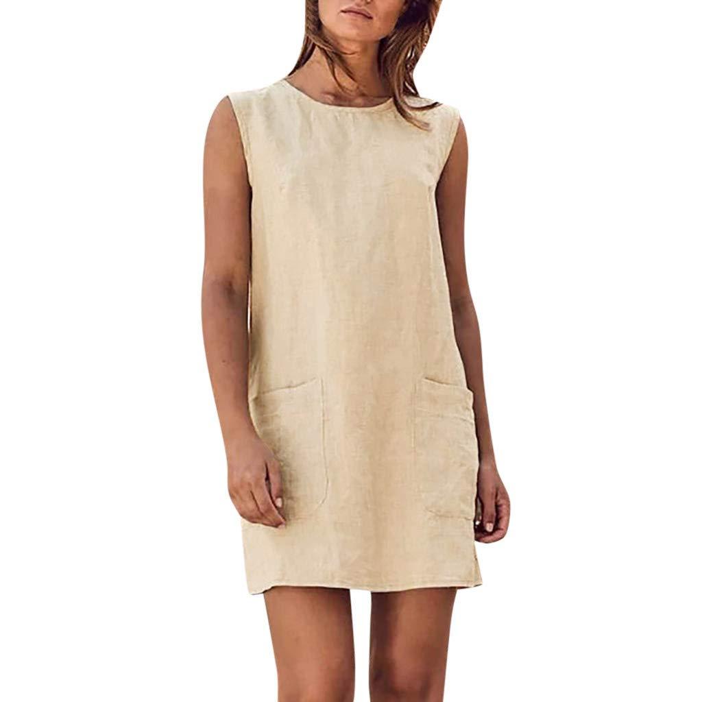 Kalinyer Womens Casual Linen Dress, Summer Loose O Neck Sleeveless Shift Dress with Pockets Tank Mini Dress Beige