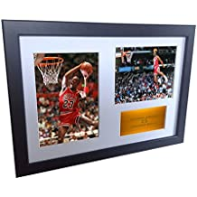"""A4 Signed Michael Jordan Chicago Bulls """"Famous Foul Line Dunk 1988"""" Autographed Basketball Photo Photograph Picture Frame Gift 12""""x8"""""""