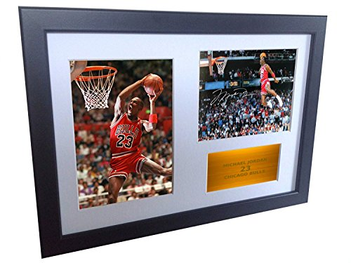 A4 Signed Michael Jordan Chicago Bulls''Famous Foul Line Dunk 1988'' Autographed Basketball Photo Photograph Picture Frame Gift 12''x8'' by kicks