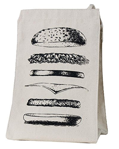 Organic Phthalates-Free Eco Friendly Reusable 100% Recycled Cotton Canvas Lunch Sack Bag Tote Featuring Burger Design, Beige, Medium, One Piece, 7