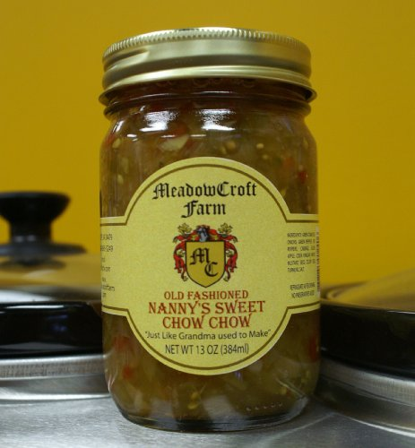 - Chow Chow - MeadowCroft Farm Old Fashioned Nanny's Sweet Chow Chow (2-Pack 12 oz per jar) All Natural Blend of Green Tomatoes, Onions, Green & Peppers,Cabbage, Turmeric,Celery & Mustard Seeds - Handmade in small batches like Grandma used to make