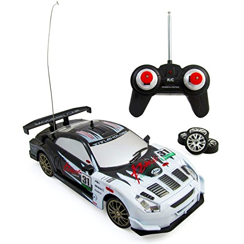 Liberty Imports Super Fast Drift King R/C Sports Racing Car Remote Control Drifting Race Car 1:24 + Headlights, Backlights, Side Lights + 2 Sets of Tires (White Race Car)
