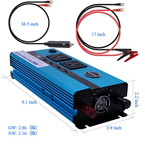 1000W Car Power Inverter DC 12V to AC 110V Converter with 2 Cigarette Lighter Sockets and Digital Display 2 AC Outlets and 4 USB Charging ports for Laptops, Tablets and other Electronics Devices by Jacknthe (Image #5)