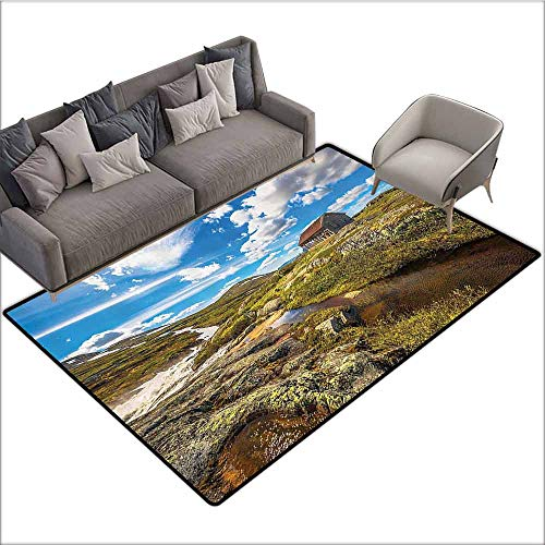 (Designed Kitchen Bathroom Floor Mat Colorful Farm House Decor Collection,Abandoned House into Wilderness by River on Hillside with Stones Highland Landscape,Geen Blue 80