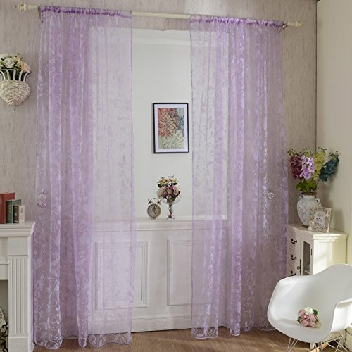 pe Panel Scarf Sheer Voile Butterfly Flocked Yarn Window Curtain Decal ()