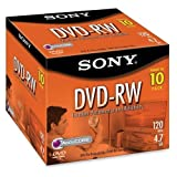SON10DMW47L - DVD-RW, 2X Max Speed, 4.7GB, 10/PK, Branded Surfaces