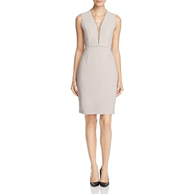 275b53b29f1b Elie Tahari Womens Saylah Embroidered V Neck Cocktail Dress Tan 6 at Amazon Women's  Clothing store: