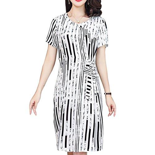Midi DISSA Gestreift Abendkleid Damen Übergröße Kleid Cocktail S2920 Kleider Seide Weiß PfnAwn7Rq