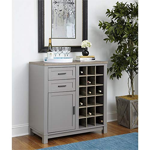 Ameriwood Home Carver Bar Cabinet, Gray Dining Room Maple Cabinet
