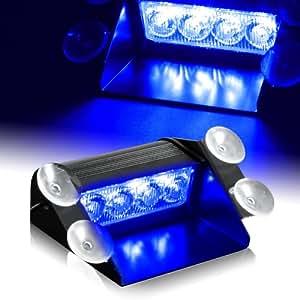 Blue generation 3 led law enforcement use strobe lights for interior roof dash for Led lights for car interior amazon