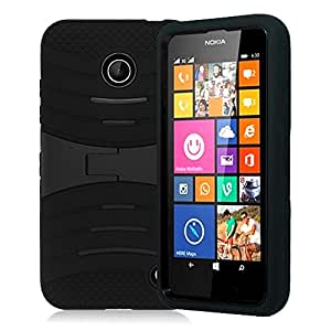 Kuteck Double Layer Hybrid Case Cover with Kickstand for Nokia Lumia 635/630 +Stylus Pen (Black)