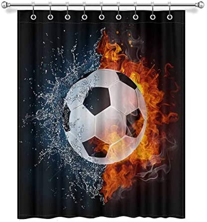 InterestPrint Fire and Water Soccer Ball Cool Sports Blackout Window Curtain Panels Darkening Window Curtain