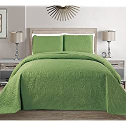 "Mk Collection 3 pc Solid Embossed Bedspread Bed-cover Over size Sage Green New King/California King Over Size 118""x106"""