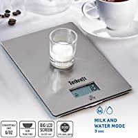 Tatkraft Hi-Tech Digital Kitchen Scales 5000g/11Lbs, Wall Hangable Kitchen Scale Stainless Steel, Accurate Gram and Slim Design, Batteries Included, 7.7X5.5