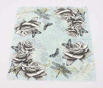 Serie de flores de amor de mariposa Servilletas papel Pulpa de madera nativa Servilletas decoupage Suave y confortable Servilletas papel flores Gysa Servilletas 2 paquetes 20 hojas//paquete
