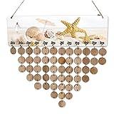 Wood Galendar, Yunt Starfish Beach Calendar DIY Hanging Decor Ornament Birthday Anniversary Gift Wooden Calendar Reminder Board Wood