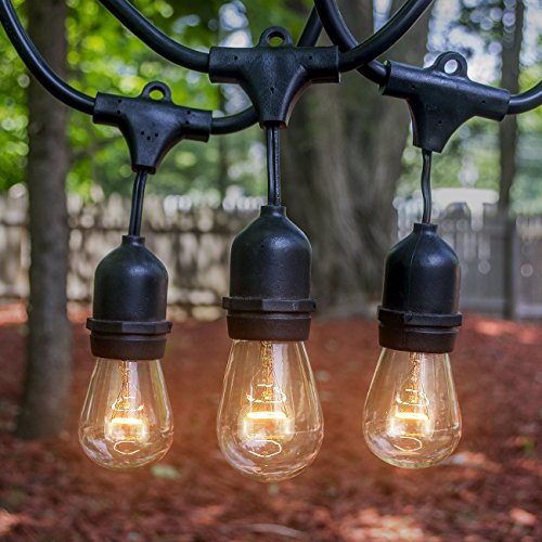 Outdoor & Indoor Edison Style String Lights - Commercial Grade Heavy Duty Weatherproof Incandescent Lighting - 48ft Long String Light with 15 Sockets and 15 Incandescent Light Bulbs (Commercial String Lighting compare prices)