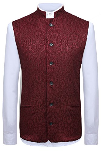 (CMDC Men's Paisley Pattern Chinoiserie Stand-up Collar 6 Buttons Waistcoat Vest VS70 (Red,M))