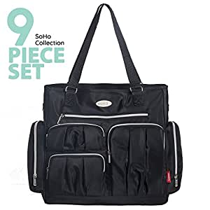 SoHo diaper bag Times Square 9 pieces nappy tote bag for baby mom dad stylish insulated unisex multifuncation travel large capacity durable includes changing pad stroller straps wipe case Black
