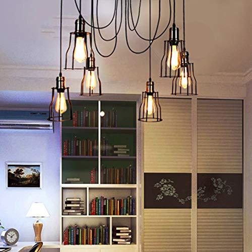 NANGE Vintage Chandelier,Edison Multiple Adjustable DIY Metal Wire Cage Pendant Lighting,Modern Chic Industrial Dining Light,E27(Without Light Source) (Color : Warm White, Size : AC 220V) by NANGE (Image #5)