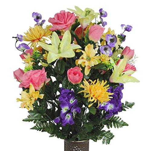 Salmon Rose and Purple Iris Silk Flower Bouquet with Stay-In-The-Vase® Design Flower - Silk Iris Plant